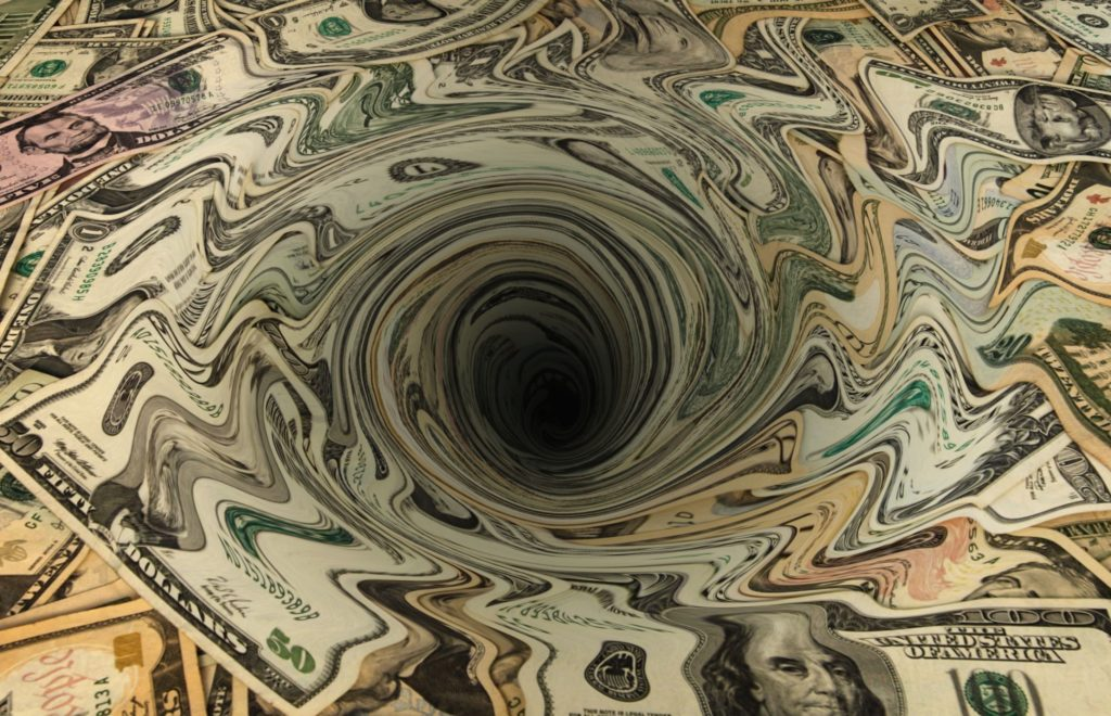 Graphic of cash spiraling downward into the abyss